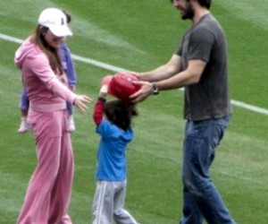 Dan Haren with his wife and family