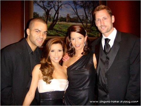 (L-R) Tony Parker, Eva Longoria, Erin Barry, Brent Barry