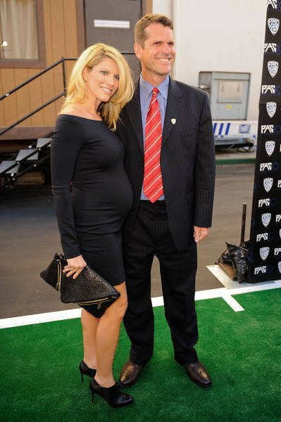 Jim Harbaugh with beautiful, cute, Wife Sarah Feuerborn Harbaugh