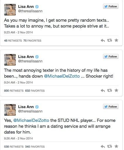 Lisa Ann Puts Michael Del Zotto on Blast