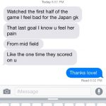 Text from Brad Guzan's Wife Breanne Guzan
